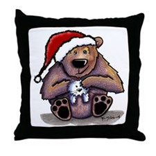 Christmas Bear Huggin' Kitty Throw Pillow