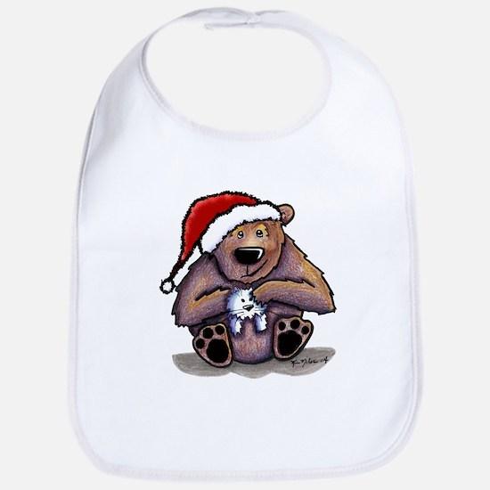 Christmas Bear Huggin' Kitty Bib