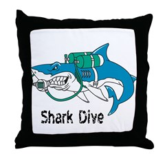 Shark Dive Throw Pillow