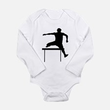 Hurdler Silhouette Long Sleeve Infant Bodysuit