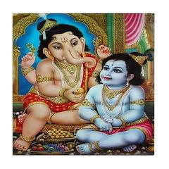 Ganesha and Krishna Tile Coaster