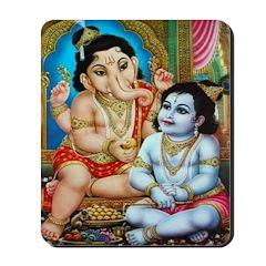 Ganesha and Krishna Mousepad