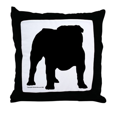 Black Bulldog Throw Pillow