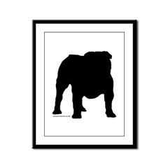 Black Bulldog Framed Panel Print