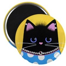 Fat Black Diva CAT w/ Bad HAIR Day Magnet