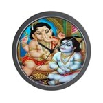 Ganesha and Krishna Wall Clock