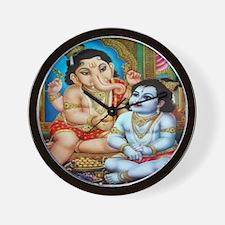 Ganesha and Krishna Wall Clock