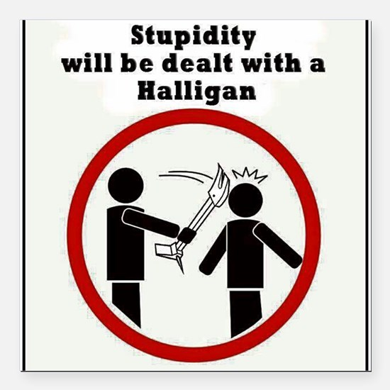Stupidity will be dealt with a halligan Square Car