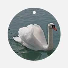 Reflective white swan Ornament (Round)