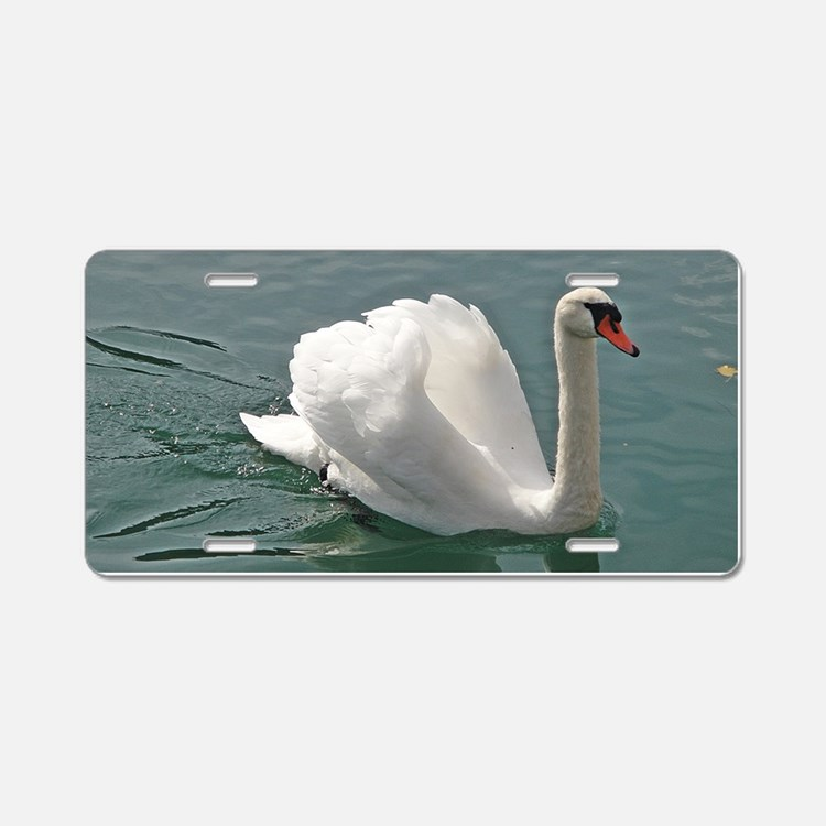 Reflective white swan Aluminum License Plate