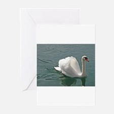 Reflective white swan Greeting Cards (Pk of 20)