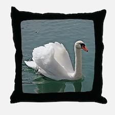 Reflective white swan Throw Pillow
