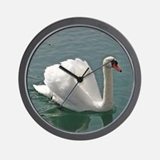 Reflective white swan Wall Clock