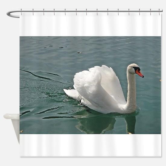 Reflective white swan Shower Curtain