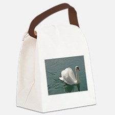 Reflective white swan Canvas Lunch Bag
