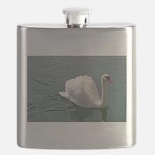 Reflective white swan Flask