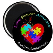 Autism Puzzle on Heart Magnet