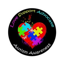 "Autism Puzzle on Heart 3.5"" Button (100 pack)"