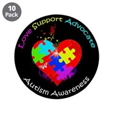 """Autism Puzzle on Heart 3.5"""" Button (10 pack)"""
