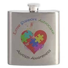 Autism Puzzle on Heart Flask
