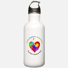 Autism Puzzle on Heart Water Bottle