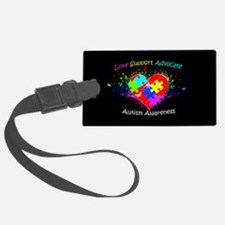 Autism Puzzle on Heart Luggage Tag
