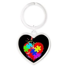 Autism Puzzle on Heart Heart Keychain