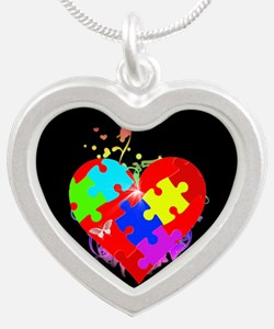 Autism Puzzle on Heart Silver Heart Necklace