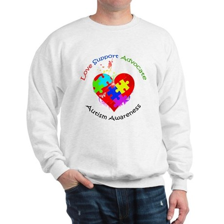 Autism Puzzle on Heart Sweatshirt