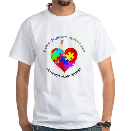 Autism Puzzle on Heart White T-Shirt