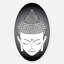 b/w buddha Oval Decal