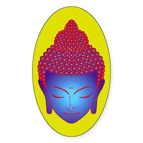 purple buddha Oval Sticker