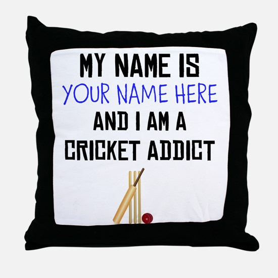 Custom Cricket Addict Throw Pillow