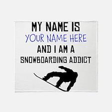 Custom Snowboarding Addict Throw Blanket