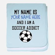 Custom Soccer Addict baby blanket