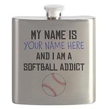 Custom Softball Addict Flask
