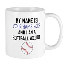 Custom Softball Addict Small Mugs