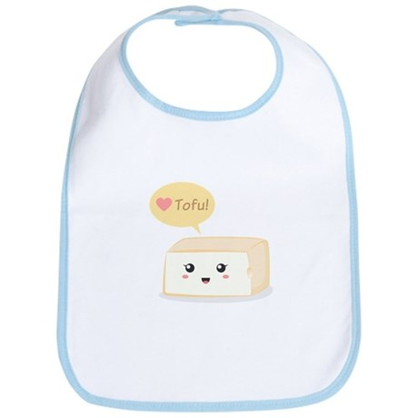 Kawaii tofu asking people to love tofu Bib