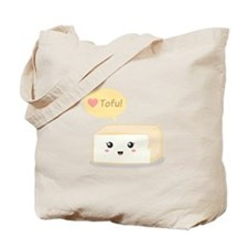 Kawaii tofu asking people to love tofu Tote Bag