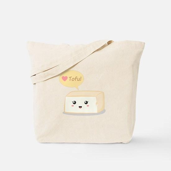 Kawaii tofu asking people to love tofu Tote Bag
