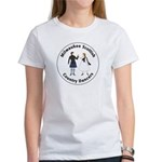 Women's White logo T-Shirt with blue kil