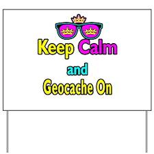 Crown Sunglasses Keep Calm And Geocache On Yard Si