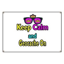 Crown Sunglasses Keep Calm And Geocache On Banner