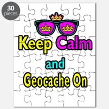 Crown Sunglasses Keep Calm And Geocache On Puzzle