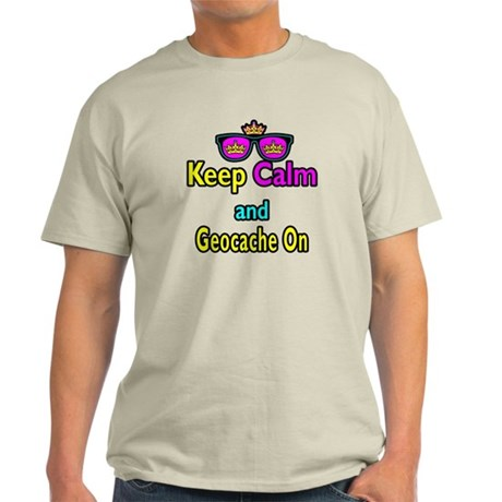 Crown Sunglasses Keep Calm And Geocache On Light T