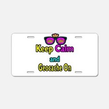 Crown Sunglasses Keep Calm And Geocache On Aluminu