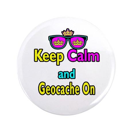 "Crown Sunglasses Keep Calm And Geocache On 3.5"" Bu"