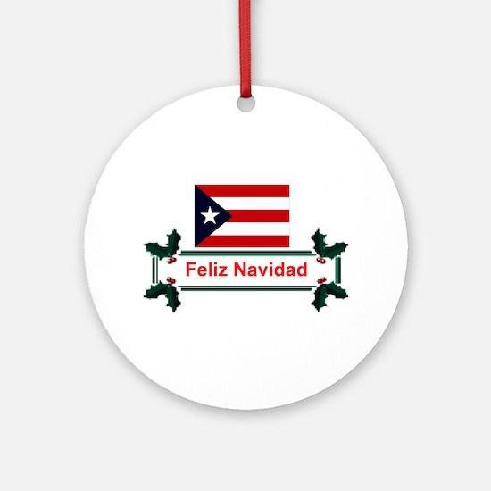 PuertoRico Feliz Navidad Ornament (Round)