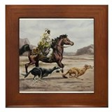 Arabian horse with dogs Framed Tiles