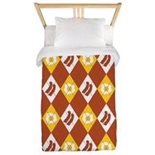 Bacon and Eggs Argyle Pattern Twin Duvet